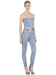 Giamba Stars Patch Embellished Lurex Jumpsuit
