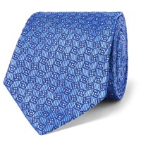 Turnbull And Asser 8Cm Silk Jacquard Tie Light Blue