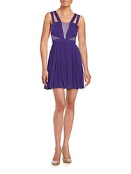 Bcbgeneration Pleated Lace Inset Dress Plum Berry