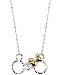 Disney Mickey And Minnie Mouse Necklace In Sterling Silver With 14K Gold Plating