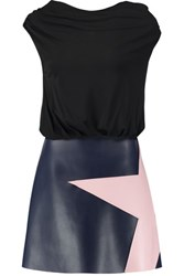 Msgm Color Block Faux Leather And Stretch Cady Mini Dress Black
