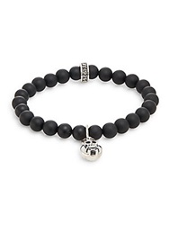 King Baby Studio Onyx And Sterling Silver Beaded Skull And Crossbones Charm Bracelet Silver Black