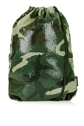 Camo Sequin Drawstring Bag By Jaded London Green