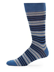Saks Fifth Avenue Striped Combed Cotton Socks Turquoise