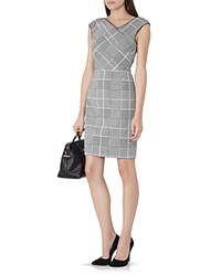 Reiss Rouge Houndstooth Check Dress Black Off White