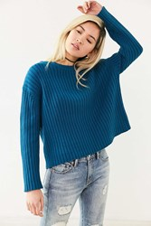 Silence And Noise Camila Vertical Rib Pullover Sweater Blue