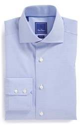 Men's Big And Tall David Donahue 'Royal' Trim Fit Solid Dress Shirt Blue