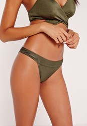 Missguided Mix And Match Low Rise Hipster Bikini Bottoms Khaki Beige