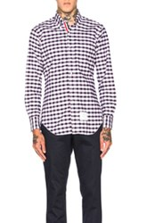 Thom Browne Gingham Check Oxford Shirt In Checkered And Plaid Black