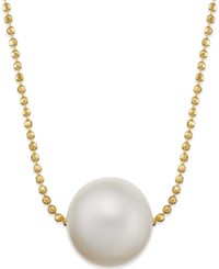 Macy's Freshwater Pearl Pendant Necklace 10Mm In 14K Yellow Gold Over Sterling Silver