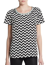 Saks Fifth Avenue Red Chevron Print Embellished Blouse