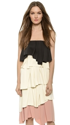 Cedric Charlier Strapless Top Black White