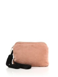 The Row Suede Tassel Wristlet Clutch Saddle