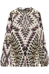 Just Cavalli Printed Silk Chiffon Top White