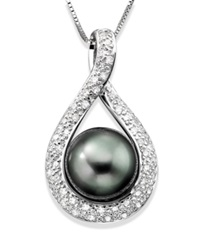 Macy's Cultured Tahitian Pearl 9Mm And Diamond 1 4 Ct. T.W Pendant Necklace In 14K White Gold