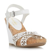 Head Over Heels Kamilla Laser Cut Cross Wedges White