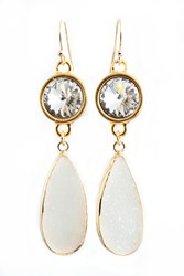 Isabella Tropea Crystal And Gemstone Daydreamer Earring White Druzy And Clear Crystal