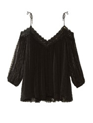 Zimmermann Realm Polka Dot Embroidered Silk Georgette Top Black