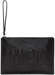 Mcq By Alexander Mcqueen Black Leather Logo Pouch