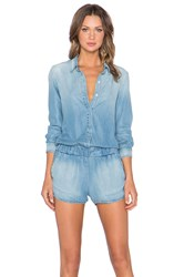 Monrow Long Sleeve Romper Denim Wash