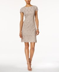 Alex Evenings Petite Layered Sequined Lace Sheath Dress Taupe