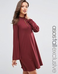 Asos Tall Swing Dress With Long Sleeves And Keyhole Burgundy Red