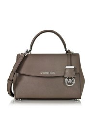 Michael Kors Ava Small Cinder Saffiano Leather Satchel Bag Gray