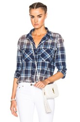 Nsf Kimberly Top In Blue Checkered And Plaid Blue Checkered And Plaid