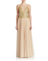 Basix Ii Sequined Illusion Gown Gold