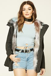 Forever 21 Faux Fur Lined Parka Black Blue
