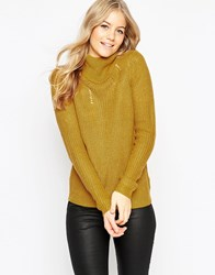 Vila Chunky Long Sleeve Roll Neck Jumper Gold