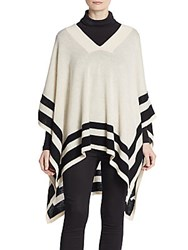 Cullen Striped Bordered Cashmere Poncho Oatmeal