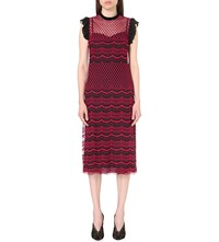 Philosophy Scalloped Hem Lace Dress Red