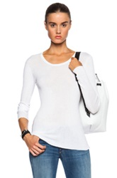 Inhabit Cotton Essentials Long Sleeve Tee In White