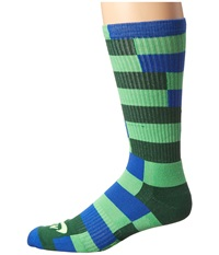 Nike Striped Dri Fit Skate Crew Poison Green Game Royal Gorge Green Flash Lime Men's Crew Cut Socks Shoes Mahogany