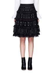 Temperley London 'Sea' Fish Lace Tiered Ruffle Skirt Black