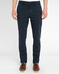 M.Studio Plain Navy Dimitri Cotton Fitted Chinos