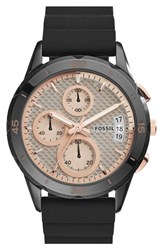 Fossil Women's 'Modern Pursuit' Chronograph Silicone Strap Watch 39Mm Black Gold Black Gold