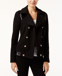Inc International Concepts Faux Leather Trim Military Jacket Only At Macy's Deep Black
