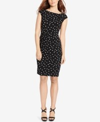 American Living Polka Dot Print Sheath Dress Black White