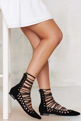 Nasty Gal Ariane Lace Up Suede Flat