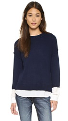 Brochu Walker Looker Crew Layered Sweater Sausalito Navy Apollo