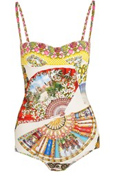 Dolce And Gabbana Printed Underwired Swimsuit Yellow