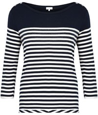 Cc Embellished Breton Stripe Top Navy