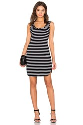 Bobi Cashmere Terry Stripe Midi Tank Dress Black