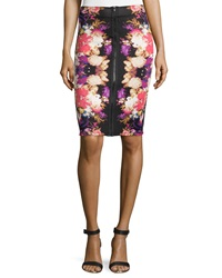 Romeo And Juliet Couture Front Zipper Scuba Skirt Black Cherry Violet