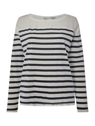 Oui Longsleeve Stripe T Shirt White And Navy White And Navy