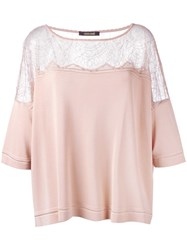 Roberto Cavalli Sheer Panel Flared Blouse Nude Neutrals