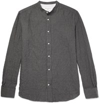 Officine Generale Grandad Collar Textured Herringbone Cotton Blend Shirt Gray