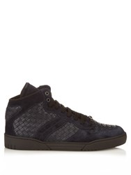 Bottega Veneta Intrecciato Leather And Suede High Top Trainers Navy